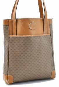Authentic GUCCI Micro GG PVC Leather Shoulder Tote Bag Brown E2593