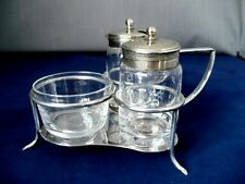 19th c Victorian Silver Plate & Glass Cruet Set - Francis Howard Of Sheffield