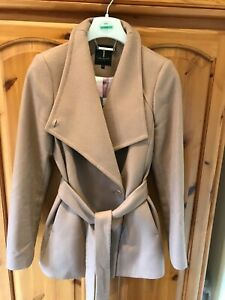 Ted Baker wool and cashmere blend camel wrap coat Size 2 (UK 10)
