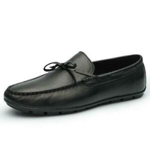Mens Leather Pumps Slip on Bowknot Loafers Shoes Driving Moccasins Walking Work