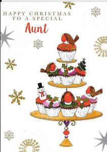 CHRISTMAS CARD TO A SPECIAL AUNT - ROBINS, CUPCAKES, SNOWMAN, CAKE STAND, TREE