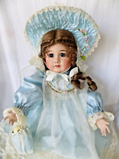"""Handmade Victorian Doll Glass Eyes Fully Jointed Signed 22"""" H"""