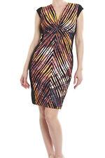Joseph Ribkoff Blue Pink Yellow Short Sleeve Sheath Dress 173656 US 10 UK 12 NEW
