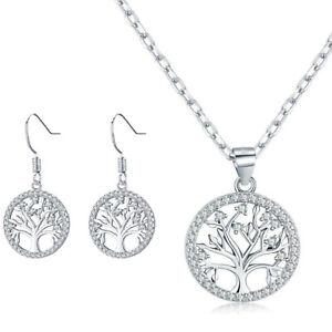 Damen Halskette mit Ohrringe Lebensbaum 925er Silber Schmuck Box Gravur Frauen