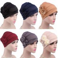 Cancer Head Scarves Cover Hair Loss Chemo Hat Muslim Turban Flower Beanie Cap