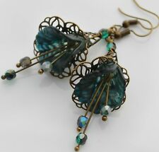 Dark Autumn Teal Flower Hand Painted Vintage Style Lucite Flower Dangle Earrings