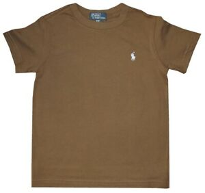 RALPH LAUREN POLO SOLID OLIVE-BROWN T SHIRT WITH LIGHT BLUE PONY KIDS BOYS 4