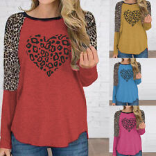 Women Leopard Long Sleeve T Shirt Crew Neck Love Casual Tops Loose Blouse Tunic