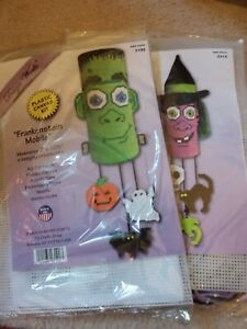 Design Works Plastic Canvas Needlepoint Kits - Holiday Halloween Witch Mobiles