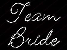 "Diamonte Hotfix Wedding Transfers Rhinestones iron on Motif "" Team Bride "" -Sty1"