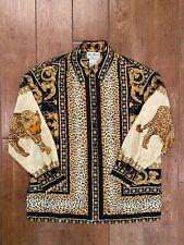 Fred David Blouse Leopard Animal Print Long Sleeve Vintage Designer 90s Hip Hop