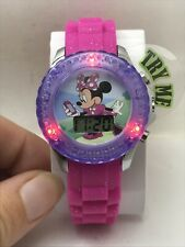 Minnie Mouse Girls Watch Pink Purple Flashing LCD Kids Wristwatch New-R4
