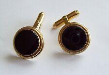 Vintage Cufflinks - BAB Black Onyx & Gold Tone
