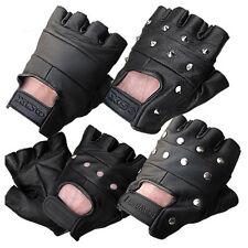 LEATHER FINGERLESS GLOVES BIKER DRIVING CYCLING WHEELCHAIR GYM PADDED RAWHIDE