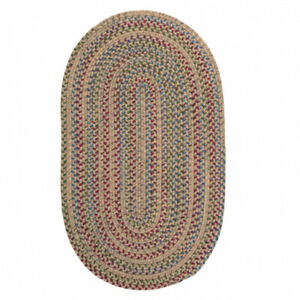 Worley Natural Multi Oval Rustic Country Farmhouse Braided Area Rug