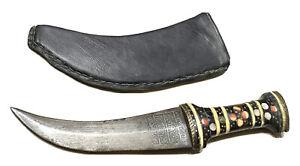 Vintage Antique Middle East Jambiya Karud Mughal Dagger Knife Kinjal Sheath Old