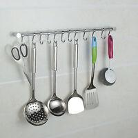 12 Hooks Kitchen Utensil &Gadget Set Wall Hanging Rail Rack Bathroom Holder Tool