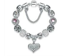 18k Gold Plated Crystal Puff Heart Charm Bracelet Made With Swarovski Element