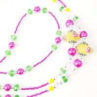 Handmade Beaded Lanyard~Yellow with Pink Flowers Lampwork~Crystal~Badge Holder