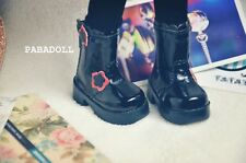 Cute Black Floral Boots for BJD Girl 1/6 YOSD Luts DOD AS DZ  Doll Shoes SB13