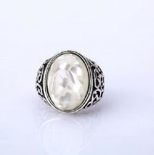 ABALONE SHELL RING SILVER PLATED. SIZE O