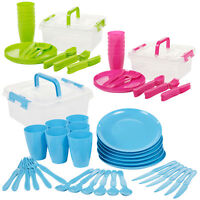 31 Piece Camping Picnic Plastic Utensil Set Knives Fork Spoon Cups Plates BBQ