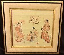 Framed Antique Asian Silk Art (AW140)