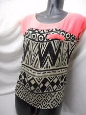 Charlotte Russe Sheer Flowy Aztec Print Blouse back cut out NEON HOT PINK small