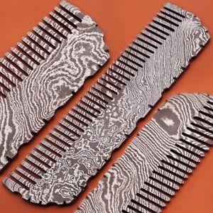 Beautiful Custom Handmade Damascus Steel Rare Pocket comb self Decorative Comb