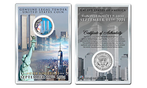 WORLD TRADE CENTER - Never Forget JFK Kennedy Half Dollar Coin with 4x6 Display