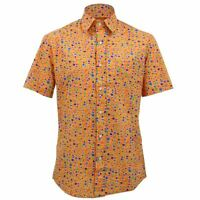 Mens Loud Shirt Retro Psychedelic Funky Party TAILORED FIT Orange Dots