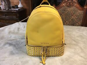 Michael Kors Rhea Zip Yellow Backpack Leather Stud New With Tags