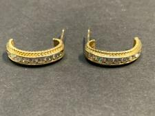14K Gold and CZ Half Hoop Earrings - 19 mm - 2.8 grams