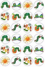 24 x THE VERY HUNGRY CATERPILLAR Wafer Rice Paper Cupcake Toppers EDIBLE CAKE