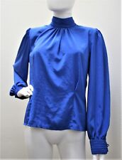 Helene St. Marie Vintage Blouse Dark Blue Long Sleeve Back Button Top 10 Vtg