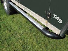 LAND ROVER DEFENDER 110 TUBULAR SIDE STEPS BLACK / CHROME CHEQUER PLATE - DA7011