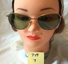 Vintage 50's 60's Copper Tone Metal Frame Sunglasses Green Plastic  Lenses