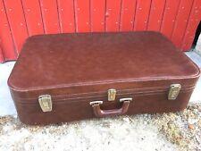 Ancienne grande valise souple couleur marron  chocolat vintage années 50/60