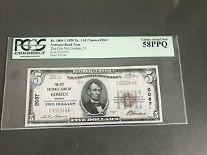 1929  $5  GOSHEN, IN INDIANA  National Bank Note PCGS  58 PPQ