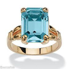 WOMENS 14K GOLD PLATED BIRTHSTONE EMERALD CUT BLUE TOPAZ RING SIZE 5 6 7 8 9 10