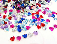 200 Assorted Sparkly Mini Heart Craft Rhinestone Jewel Embellishment Acrylic E32