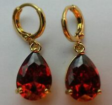 P 05 LARGE fiery red sim garnet peardrop 18k gold gf hoop+dangle earrings BOXED