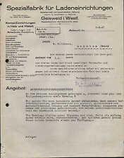 GEISWEID i. Westf., Brief 1927, Spezial-Fabrik für Ladeneinrichtungen