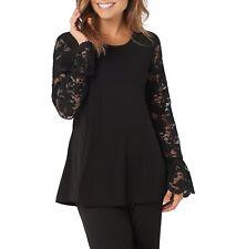 Susan Graver Womens Blouse Black Size 1X Plus Fit & Flare Lace-Sleeve $58- 533