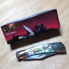 "Frost Steel Warrior Barracuda Resin Coated Abalone Lockback 3 1/2""Knife FSW100AB"