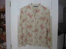 Silk Blouse, Long Sleeve, Floral Blouse by Kate Hill Size 12P, New with Tags
