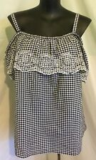 "AUTOGRAPH BLACK & WHITE GINGHAM ""CHECK"" EMBROIDERED  FLOUNCE TOP SZ 22-NEW"