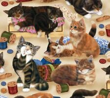 CATS & SEWING NOTIONS ON TAN – SEW CURIOUS – Anne Mortimer – FABRIC FQ