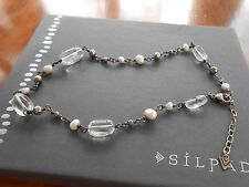 Silpada Sterling Silver & Pearl Crystal Bead Necklace