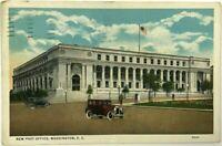 1910's 1920's New Post Office Washington DC Street View Cars Vintage Postcard